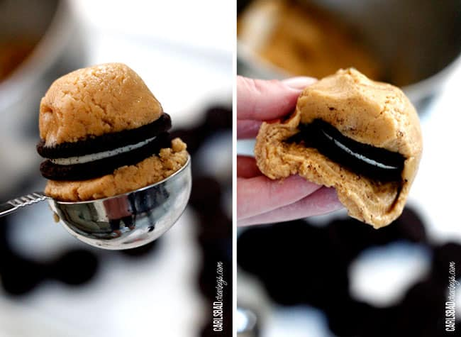 a collage showing how to make Oreo Stuffed Cookies by surrounding Oreo with two scoops of cookie dough