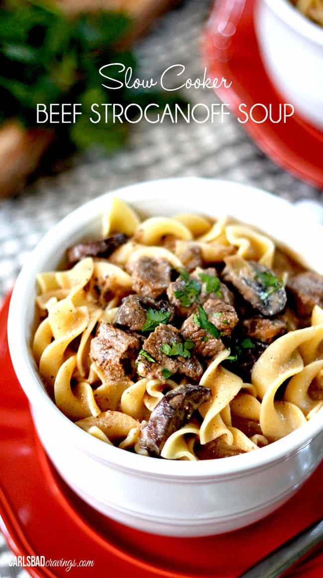 Slow Cooker Beef Stroganoff Soup | Carlsbad Cravings