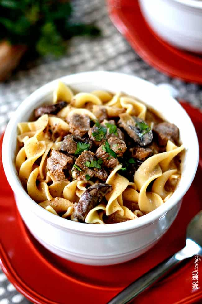 Close up of Showing how to make Beef Stroganoff Soup with mushrooms and vegetables.
