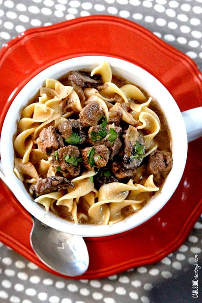 A full serving of Beef Stroganoff Soup in a white bowl on a red plate.