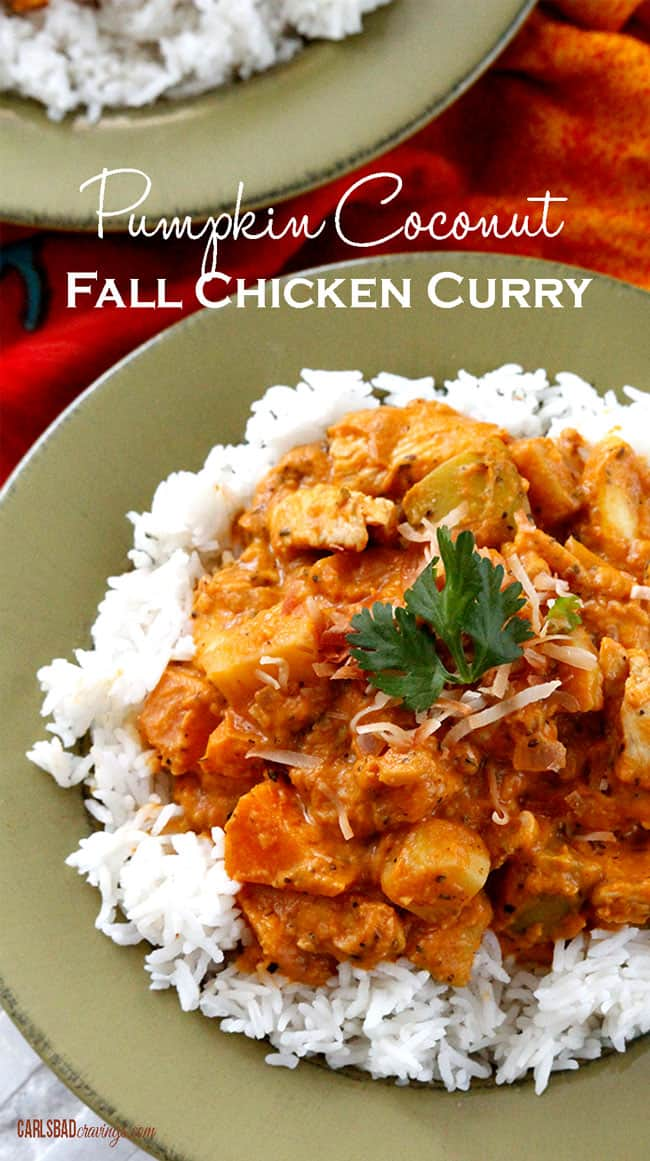 top view of Pumpkin Curry Recipe with rice
