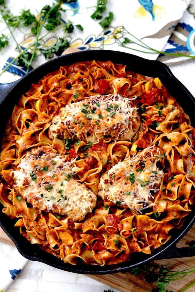 to view of sun-dried tomato pesto pasta recpie in a skillet