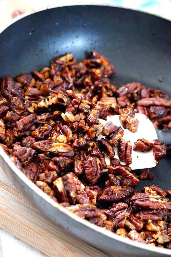 showing how to caramelize pecans for green bean casserole