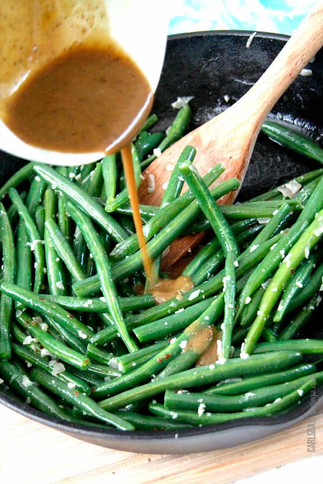 showing how to boil green beans then how to sautee green beans wiith Dijon maple sauce