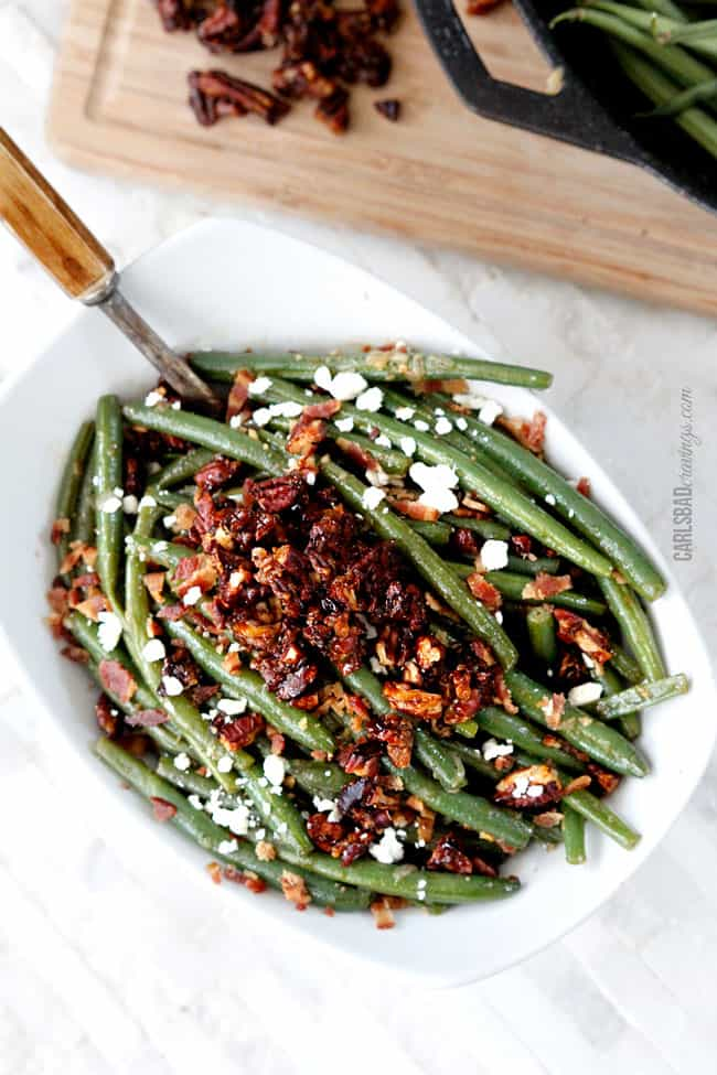 Dijon Maple Green Beans with Caramelized Pecans, Bacon & Feta