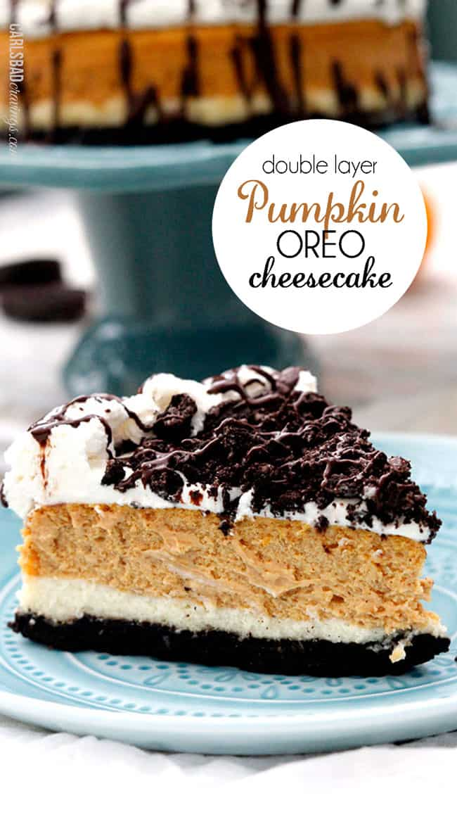 Double Layer Pumpkin Cheesecake on a blue plate.