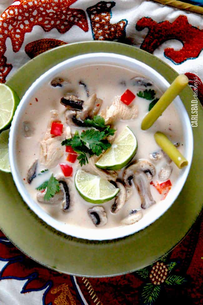 Tom Kha Chicken Soup (Spicy soup with coconut milk, mushrooms, lime ...