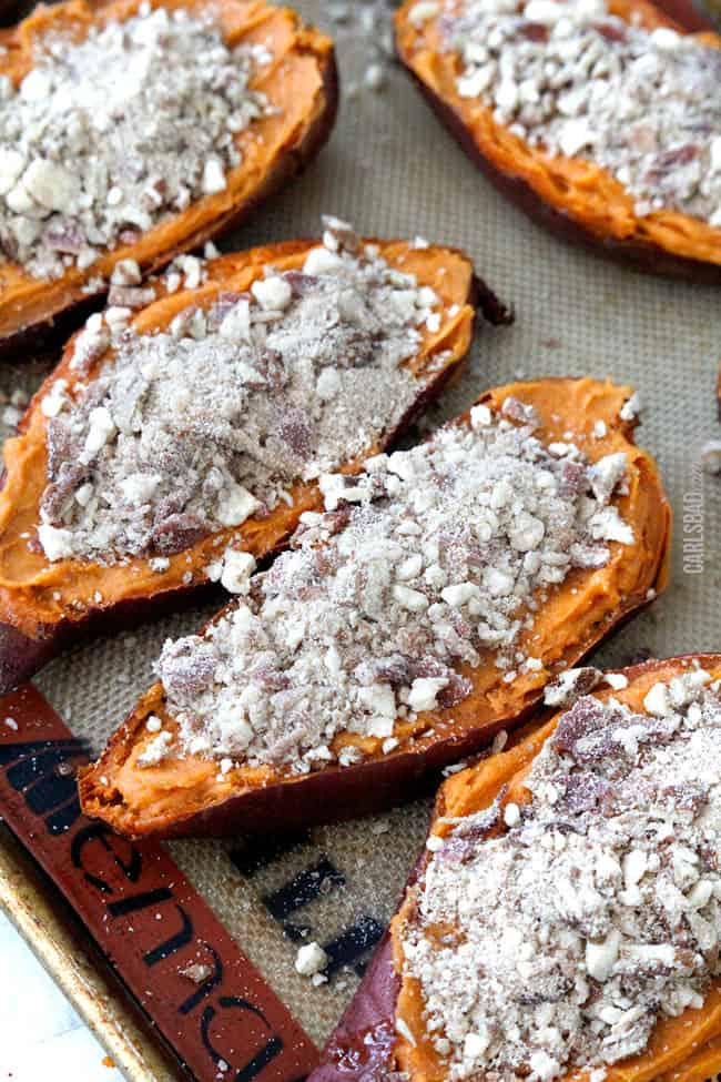 showing how to make twice baked sweet potatoes by topping sweet potato filling with crumb topping