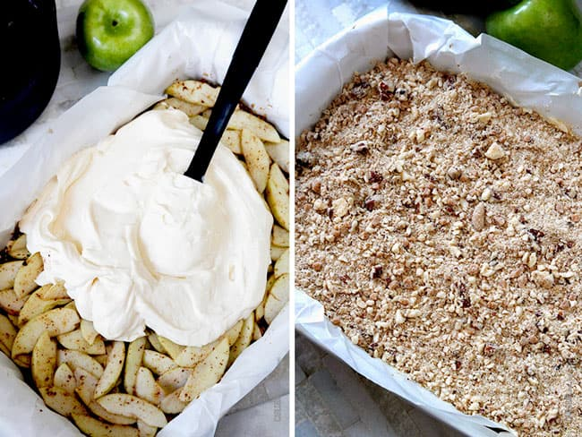 a collage showing how to make Caramel Apple Cheesecake Crust by spreading cheesecake over apples followed by streusel