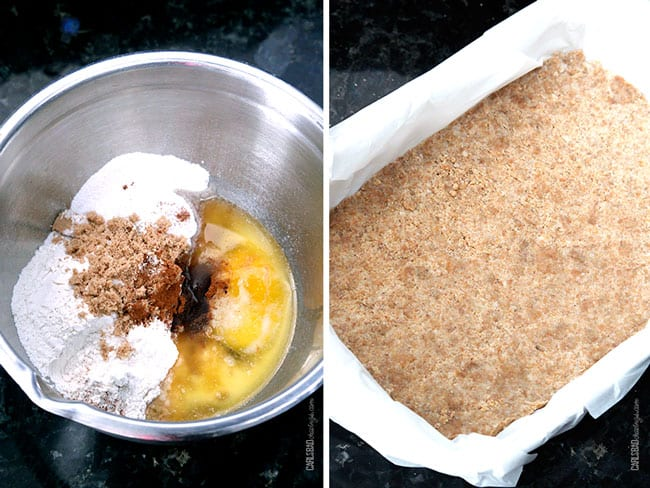 a collage showing how to make Caramel Apple Cheesecake Crust by mixing flour, eggs, sugar together and pressing into a 9x13 pan