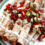 Slow Cooker Chipotle BBQ Cream Cheese Chicken Taquitos (with Pomegranate Apple Salsa)