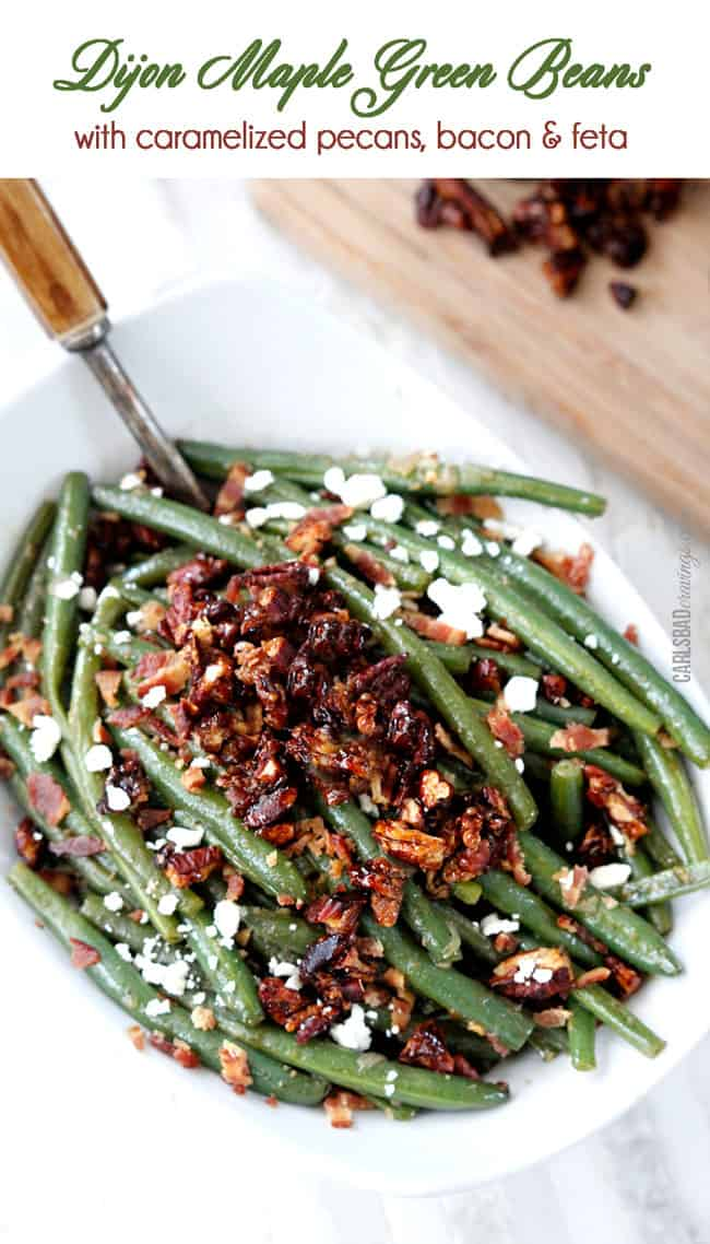 top view of fresh green beans with bacon in a white serving dish