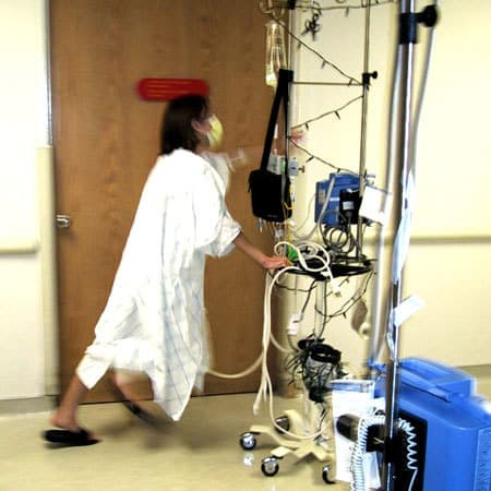 Running hospital laps with my walkman and my Christmas IV pole