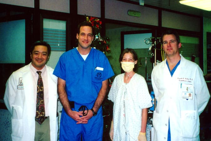 A few of my surgeons and me after a successful transplant!