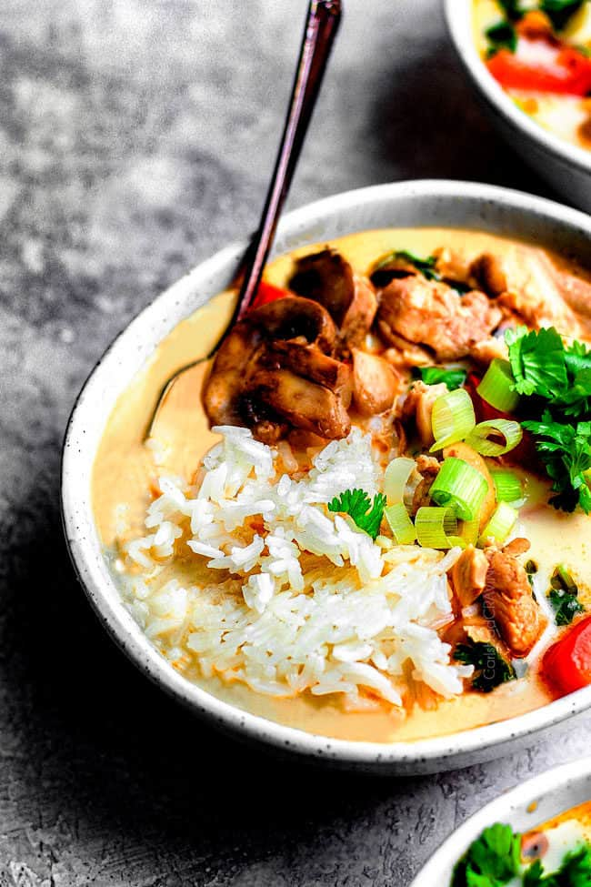 side view of authentic Tom Kha Gai recipe in a bowl with rice