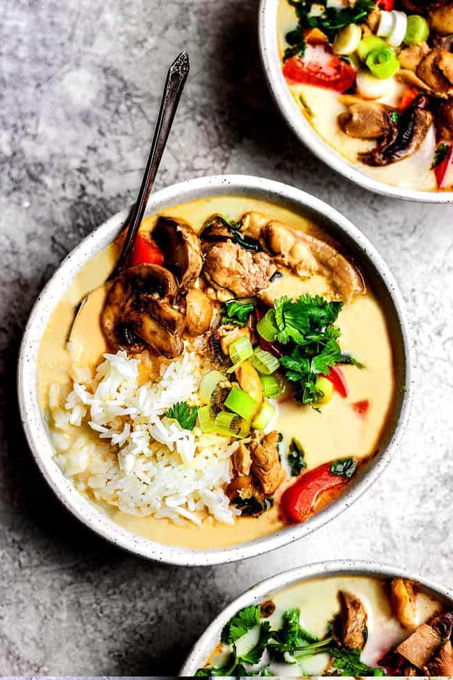 top view the best tom kha gai soup recipe
