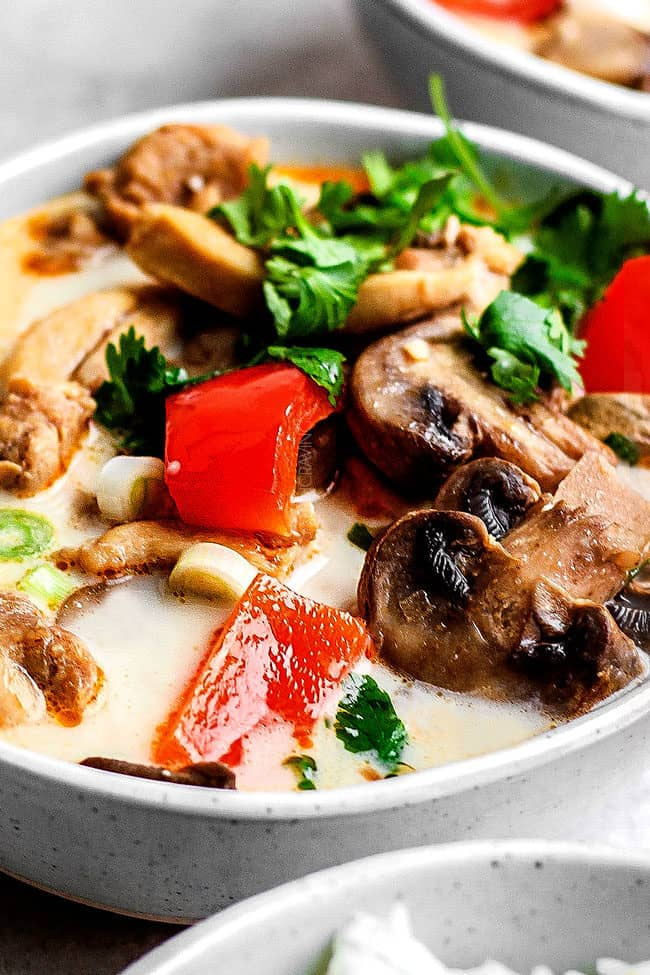 up close of tom kha gai recipe with a spoon