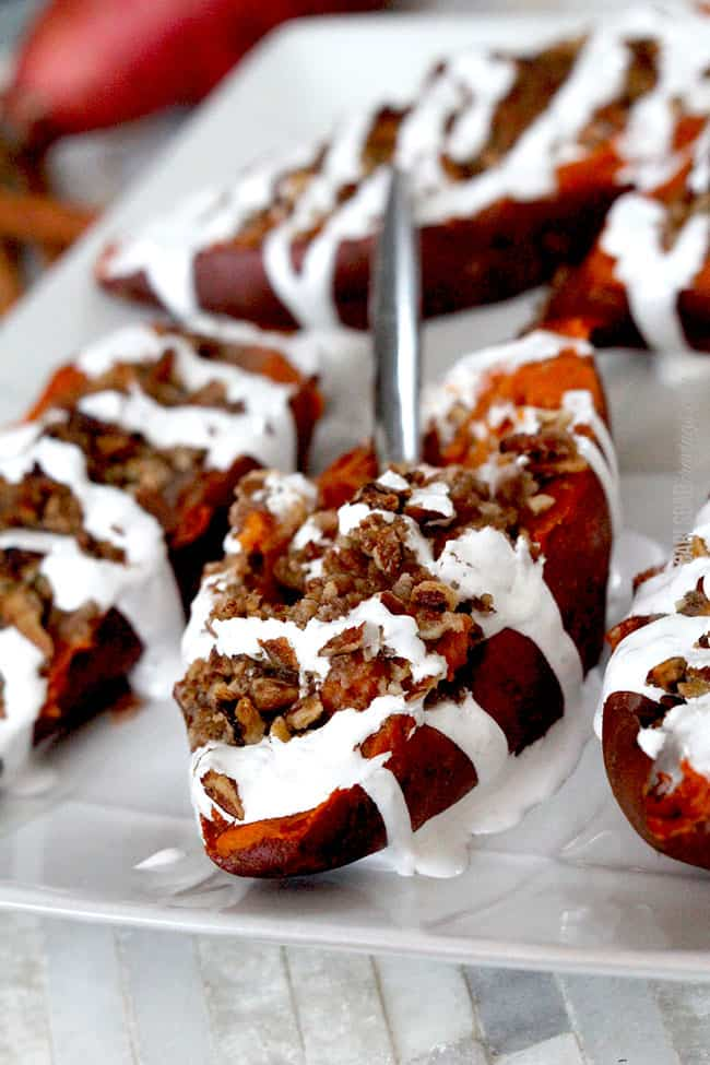 Twice Baked Sweet Potatoes with Bacon Pecan Streusel and Marshmallow ...