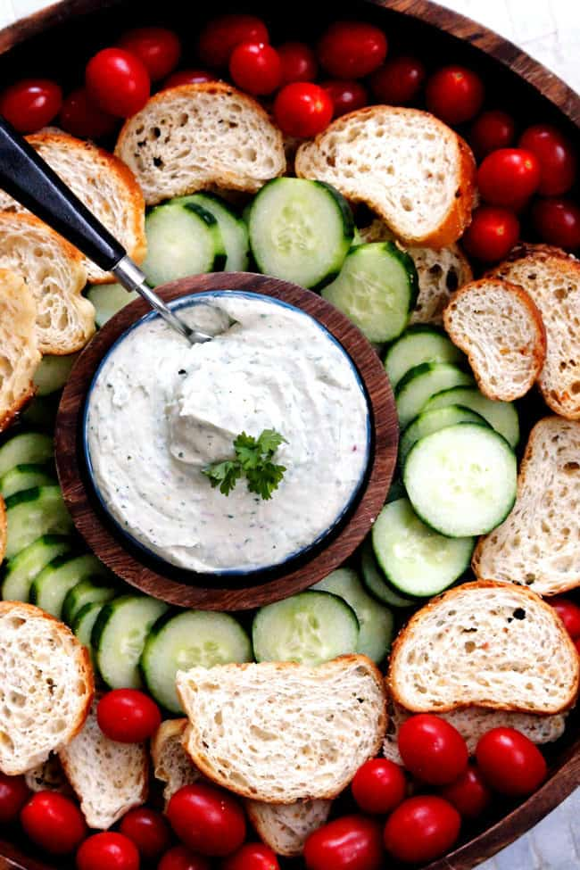 top view of whipped feta dip with vegetables