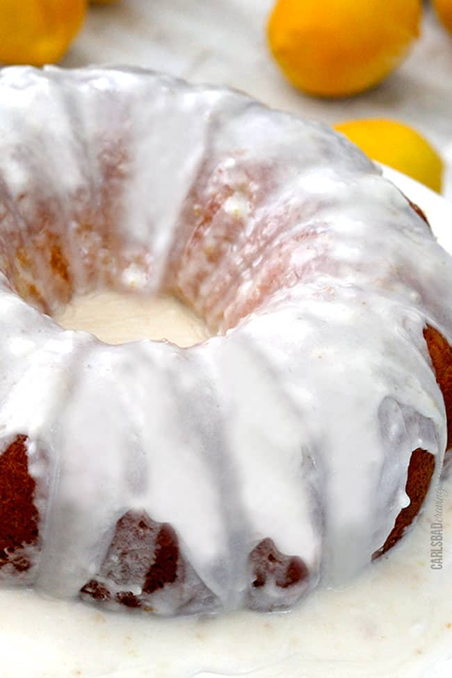 Closeup of lemon glaze on Lemon Poke Cake.