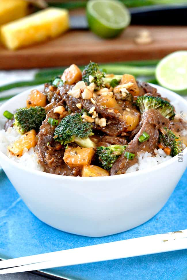 front view of best Thai beef recipe in a bowl