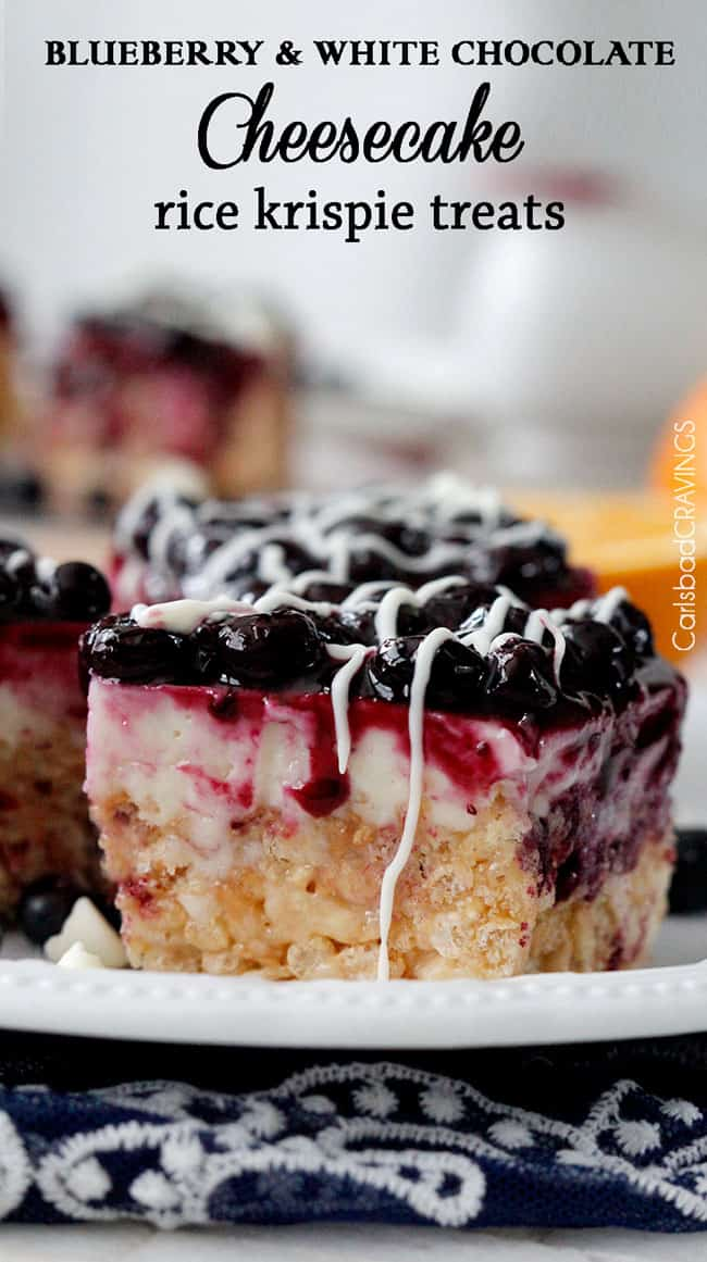 Blueberry and White Chocolate Cheesecake Rice Krispie Treats ...