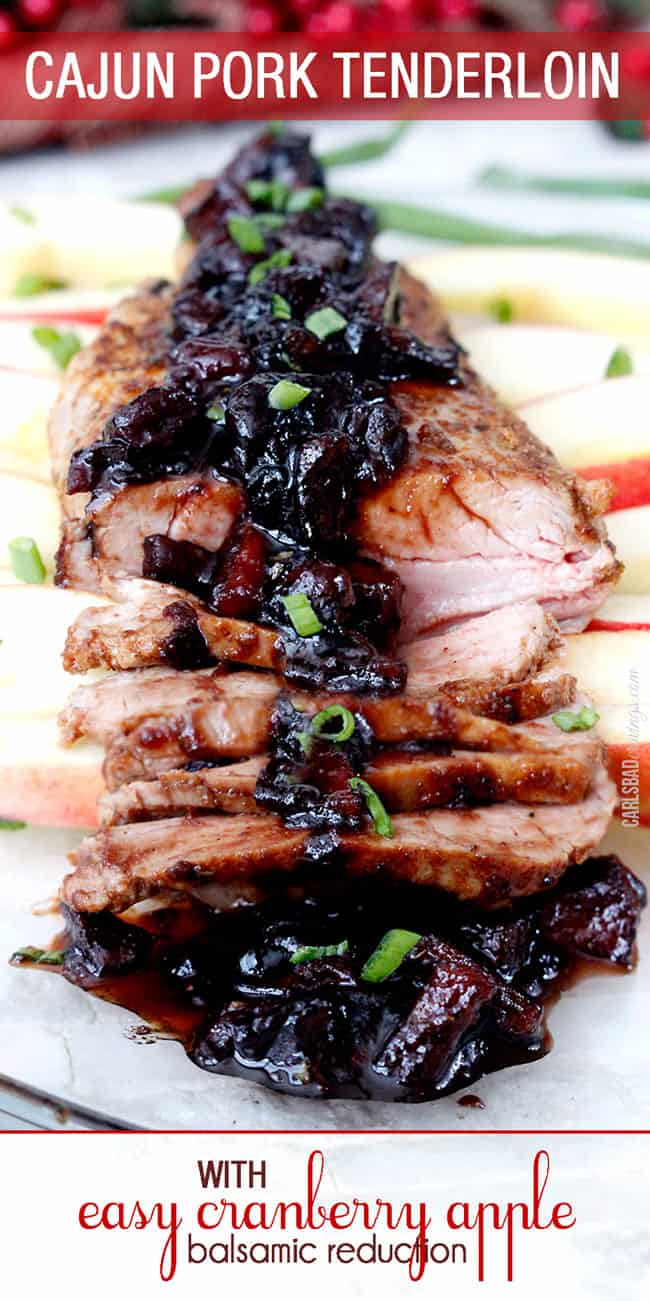 Cajun Pork Tenderloin sliced and displayed with glaze garnished with chives.