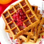 Cranberry Pecan Gingerbread Waffles with Orange Syrup