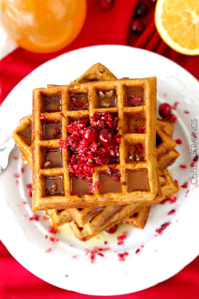 top view healthy  Gingerbread Waffles recipe