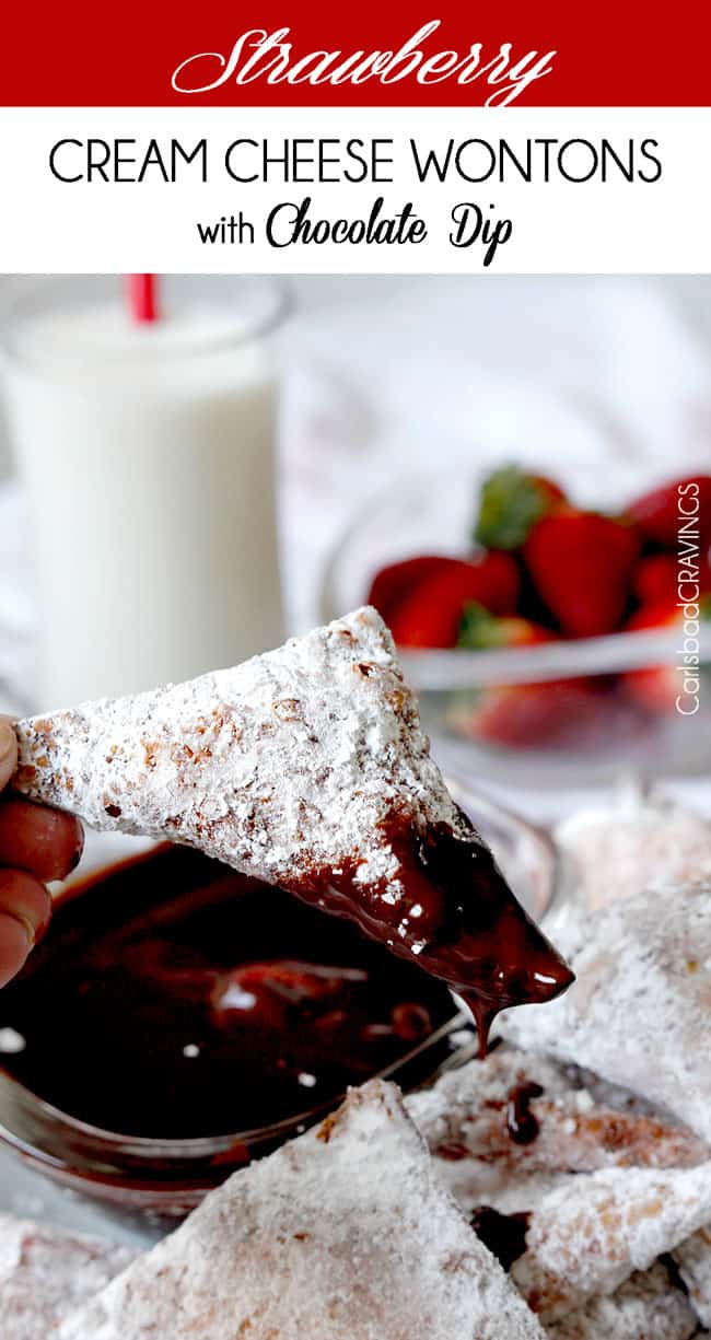 Strawberry Cream Cheese Wontons with Chocolate Dip - Carlsbad Cravings