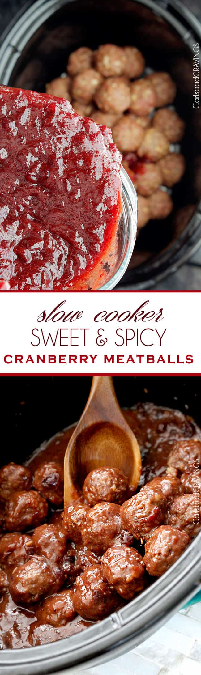 Sweet and Spicy Cranberry Meatballs (Slow Cooker)   perfect party meatball for Christmas Eve or New Years Eve or any Eve that everyone will love and so easy, moist and seeping with flavor from the slow cooker and INCREDIBLE sauce!