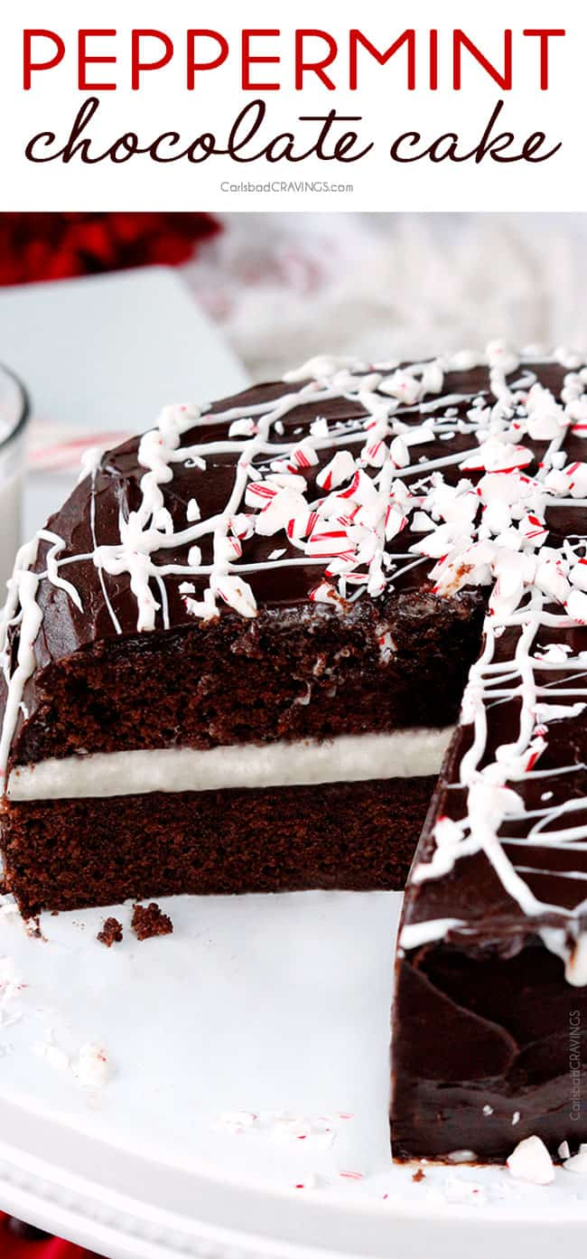 Peppermint Chocolate Cake will have you singing carols from the rooftops with its layers of rich, mega moist chocolate cake, peppermint frosting center and shell of rich, silky chocolate ganche frosting.