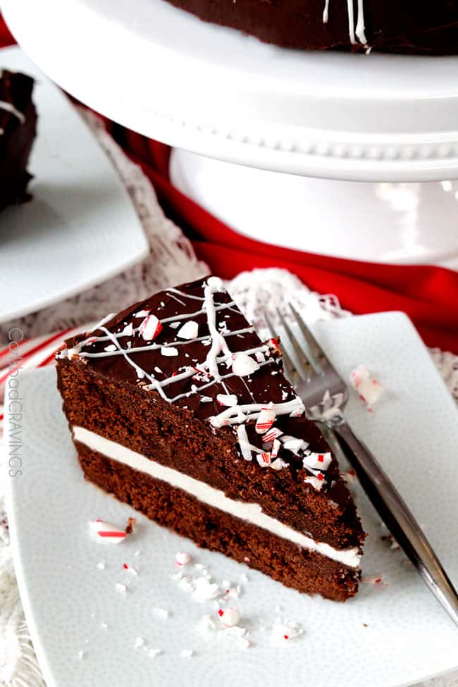 show stopping, company pleasing super moist Peppermint Chocolate Cake with a layer of Peppermint Vanilla Buttercream Frosting and enveloped by silky chocolate ganache is the ultimate Christmas dessert everyone will rave about!