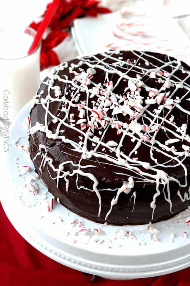 side view of Chocolate Cake with Peppermint filling