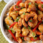 Skinny Caramelized Cashew Ginger Chicken Stir Fry
