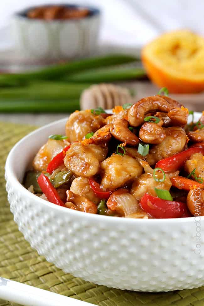 side view of healthy cashew chicken stir fry recipe