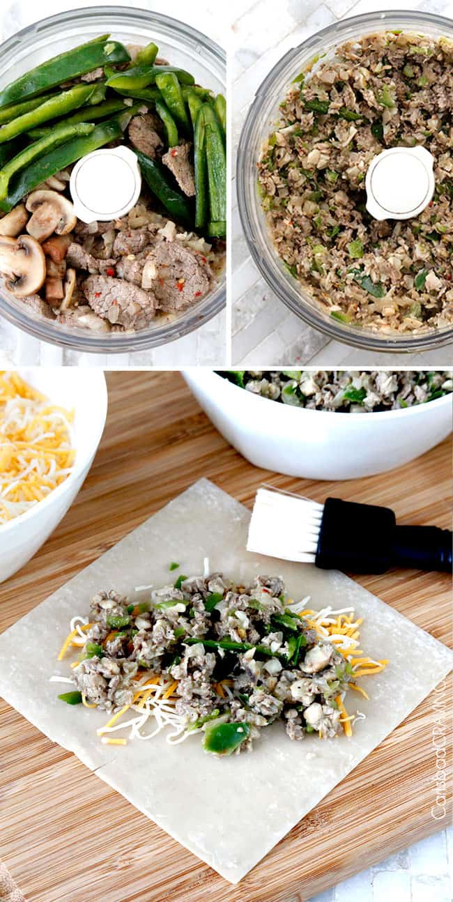 showing how to make Philly Cheesesteak Egg Rolls recipe by adding filling ingredients to a food processor to chop then adding filling to egg rolls wrappers