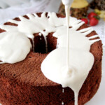 Red Velvet Angel Food Cake with Coconut Cream Cheese Glaze