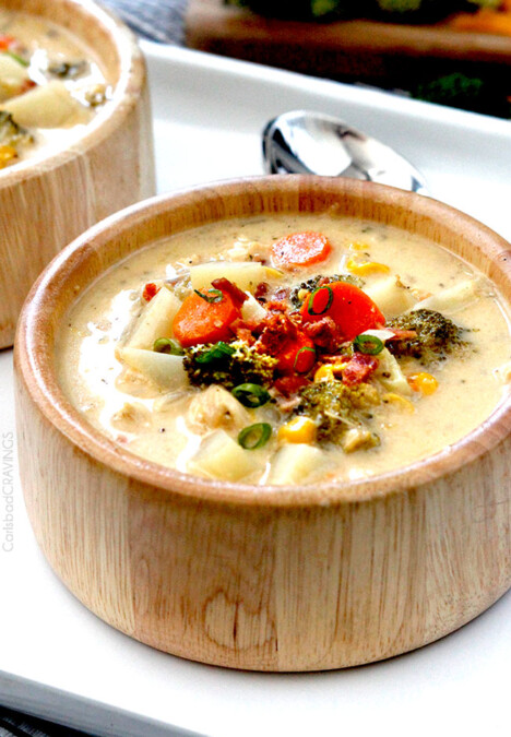 Flavor packed, EASY creamy, cheesy comforting Slow Cooker Bacon Ranch Chicken Chowder is the ultimate comfort soup with NO butter or cream but SO much flavor!! #broccolicheesesoup #chowder #potatosoup