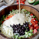 Southwest Pepper Jack Salad with Creamy Avocado Salsa Dressing