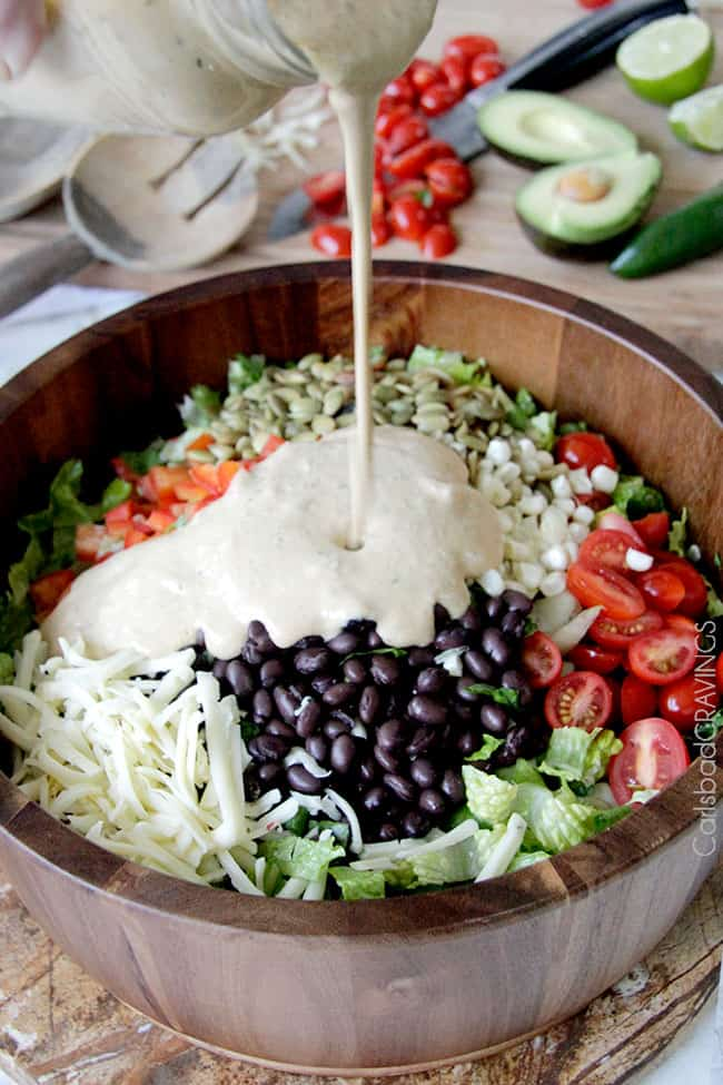 Southwest Salad with Creamy Avocado Salsa Dressing
