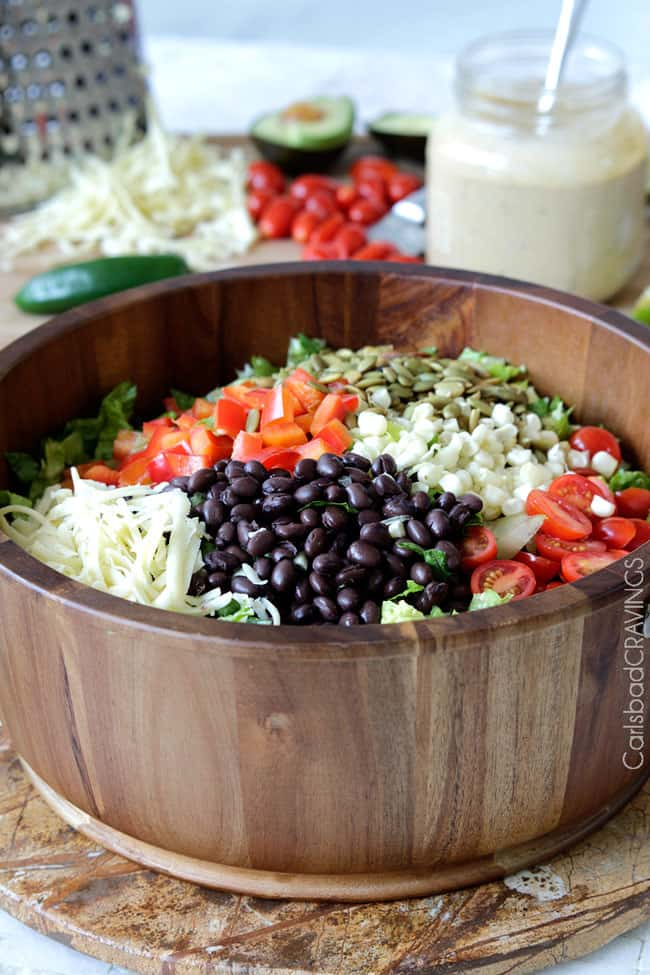 front view of a big bowl of the bests Southwest Salad recipe