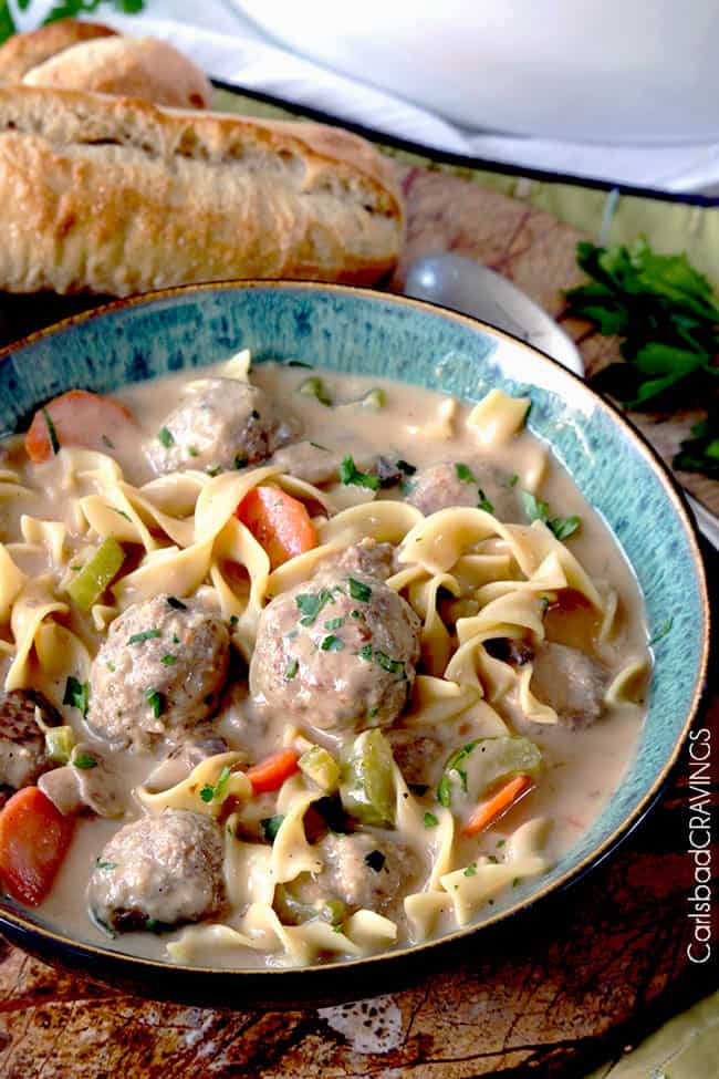 up close of a bowl of creamy meatball soup