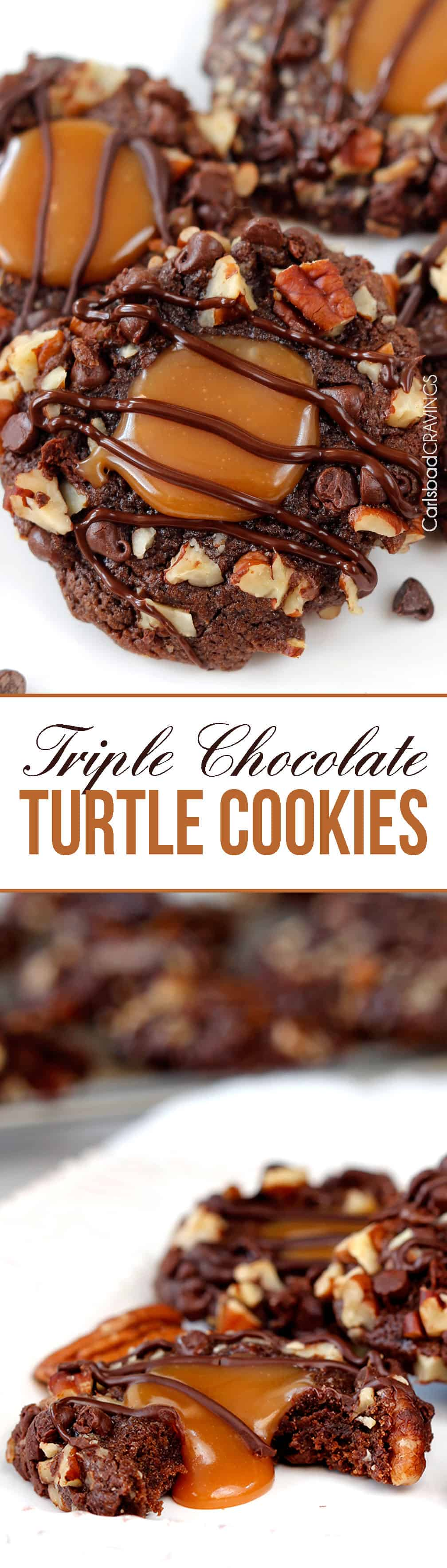 Soft Triple Chocolate Turtle Cookies rolled in mini chocolate chips and pecans then filled with creamy, silky caramel and drizzled with chocolate... AKA heaven!