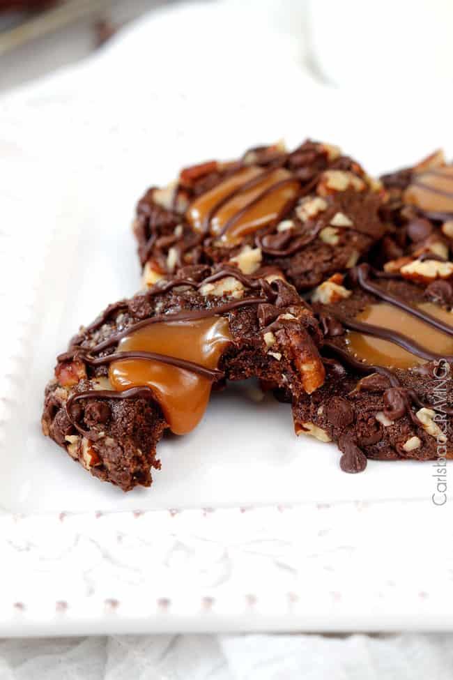 Triple Chocolate Turtle Cookies | Carlsbad Cravings