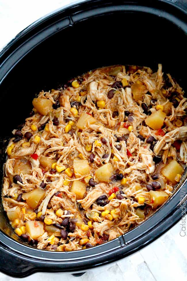 Showing how to cook Pineapple Salsa Chicken in a slow cooker.