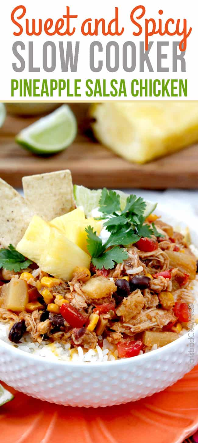 Pineapple Salsa Chicken with tortilla chips.