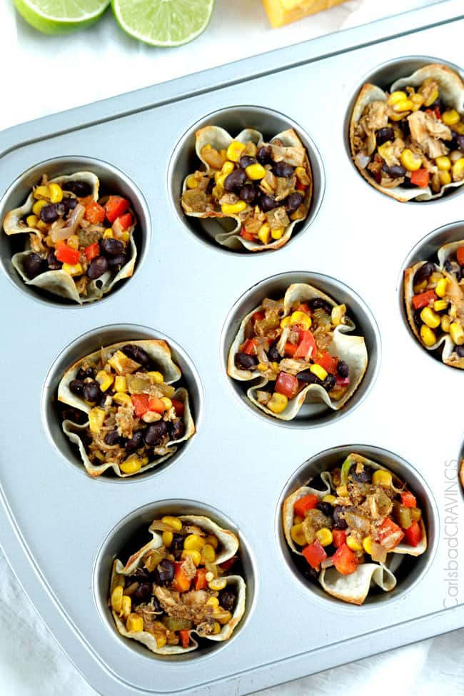 Showing how to make Tuna Melt Cups adding ingredients to muffin a tin.