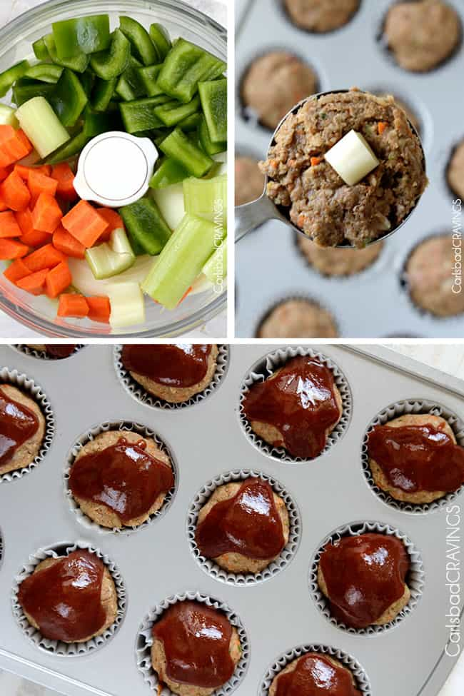 a collage showing how to make Meatloaf Muffins Recipe by adding veggies to food processor, adding cheese to the center of the muffin tin meatloaf and glazing the meatloaf muffins