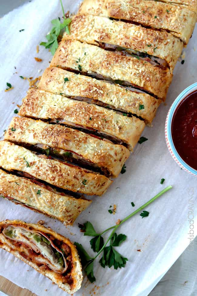 top view of the Best Stromboli Recipe sliced into sections
